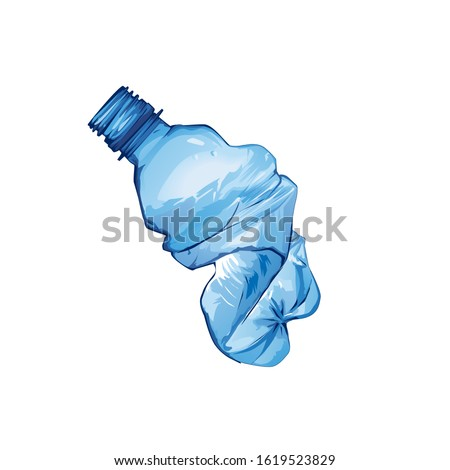 Plastic bottle crushed garbage isolated. rubbish on white backgr Stock photo © MaryValery