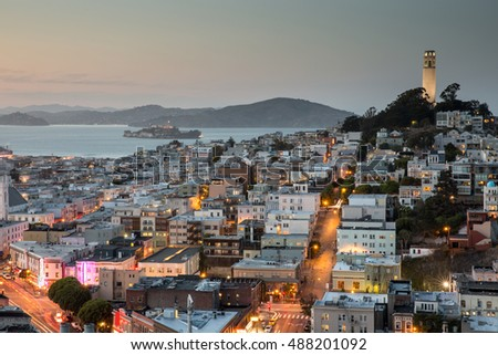 Dusk over Telegraph Hill, Alcatraz Island and San Francisco Bay from the Financial District. Stock photo © yhelfman