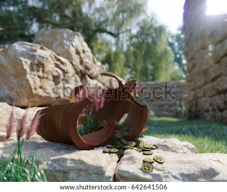 Ancient Gold Coins Treasure On Ancient Ruins Concept Background Stok fotoğraf © denisgo