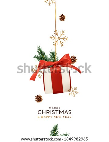 Merry Christmas. Greeting card with red ribbon, fir cones, branches and rose Stock photo © orensila