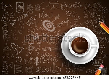 Infograph background template with a fresh coffee on table with infographic sketches Stock photo © DavidArts
