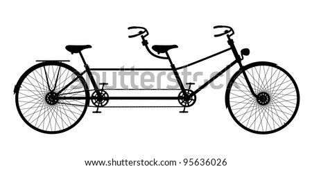 Retro old  silhouette tandem bicycle isolated on a white backgro Stock photo © NikoDzhi