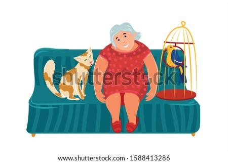 бабушки жира кошки сидят Председатель бабушка Сток-фото © popaukropa