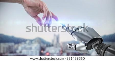 Uomo touch invisibile schermo bianco vista posteriore Foto d'archivio © wavebreak_media