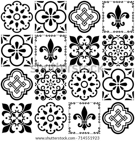 Portuguese vector tiles pattern, Lisbon seamless black and white tile design, Azulejos vintage geome Stock photo © RedKoala