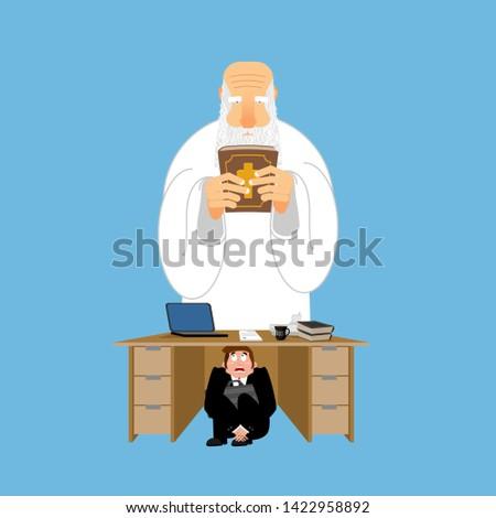 Imprenditore paura tavola dio spaventato uomo d'affari Foto d'archivio © popaukropa