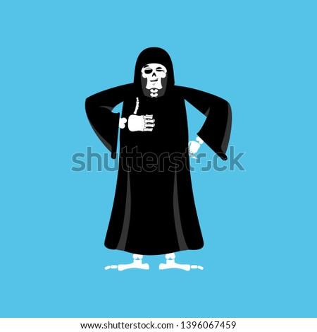 grim reaper thumbs up death winks skeleton in black cloak chee stock photo © popaukropa