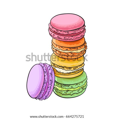 Realistic Macarons Vector. Sweet French Macaroons On Yellow Background Illustration. Stock photo © pikepicture