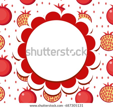 Pomegranate label, wrapper template for your design. Fruit frame with space for text. Vector illustr Stock photo © lucia_fox