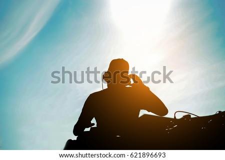 シルエット 屋外 戻る 太陽 光 肖像 ストックフォト © DisobeyArt