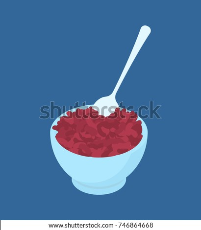 bowl of red bean porridge and spoon isolated healthy food for b stock photo © maryvalery