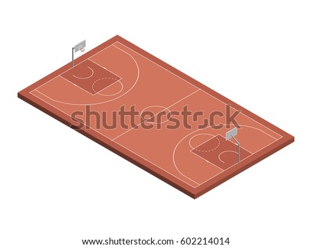 Stock photo: Set of basketball rings with basket in isometric, vector illustration.