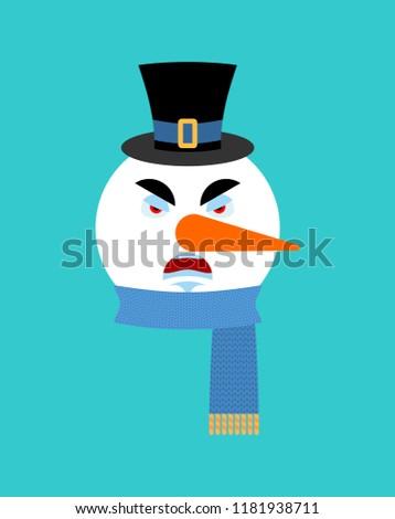 Bonhomme de neige colère émotion avatar mal visage Photo stock © popaukropa