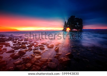 Scenic surroundings after the tide in dusk. Location place Hvits Stock photo © Leonidtit