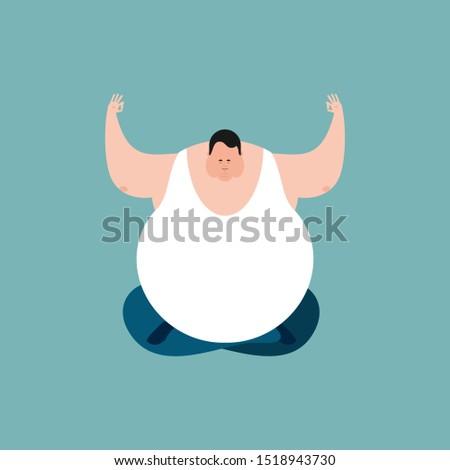Gordura ioga emoções cara isolado Foto stock © popaukropa