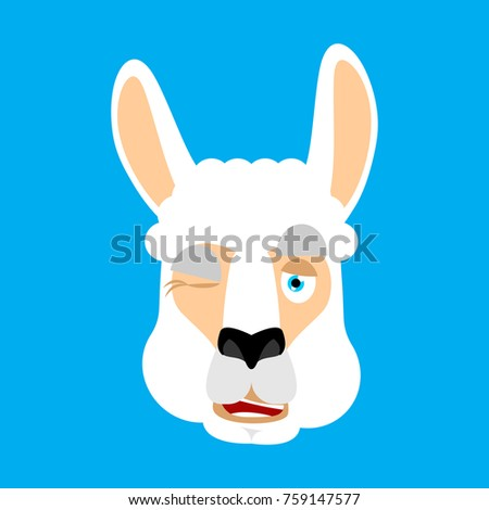 Lama Alpaca winking face avatar. Animal happy emoji. Vector illu Stock photo © popaukropa