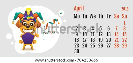 2018 year of yellow dog on Chinese calendar. Fun dog fools day. Calendar grid month April Stock photo © orensila