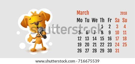 2018 year of yellow dog on Chinese calendar. Fun dog sings. Calendar grid month November Stock photo © orensila