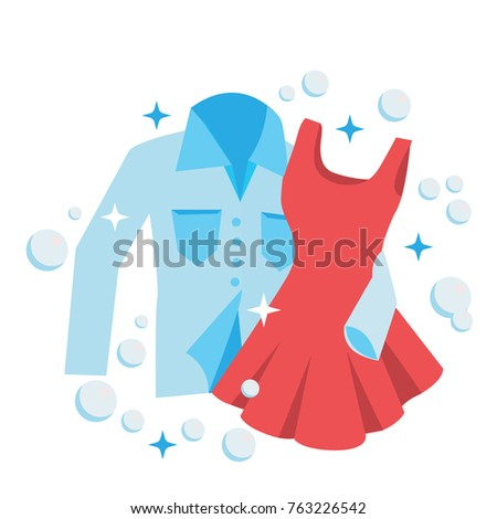 Clean Laundry shirt and dress embrace, concept for love and romance Stock photo © MarySan