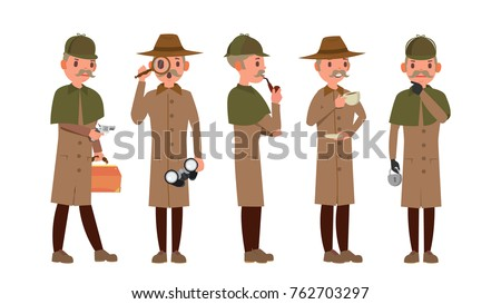 Detective Vector. Professional Vintage Tec, Snoop, Shamus, Spotter Man. Isolated Flat Cartoon Charac Stock photo © pikepicture