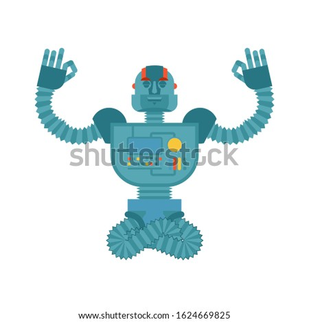 Robot yoga. Cyborg yogi isolated. Robotic man Relaxation and med Stock photo © popaukropa