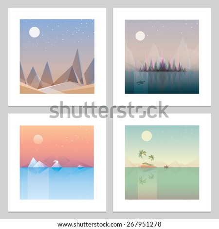 Abstract island and mountain landscape in polygonal segments. 3d Illustration Stock photo © tussik