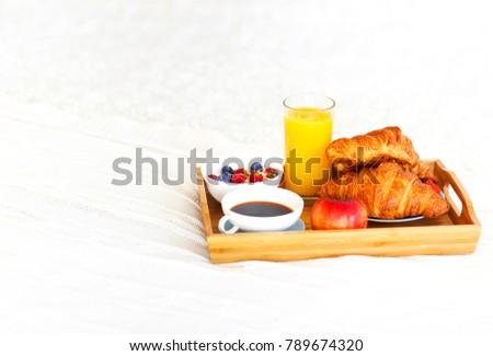 Healthy breakfast with coffee, orange juice, croisan and oatmeal Stock photo © dashapetrenko