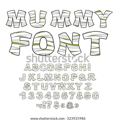 Mummy font. Alphabet in bandages. Monster zombie Letters of  Lat Stock photo © popaukropa