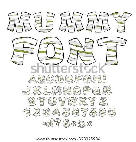 Chrzcielnica alfabet potwora zombie litery starożytnych Zdjęcia stock © popaukropa
