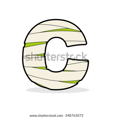 Letter C Egyptian zombies. ABC sign coiled medical bandages. Mon Stock photo © popaukropa