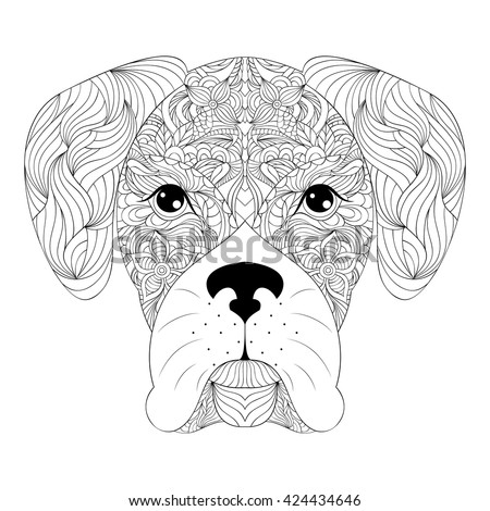vector bulldog and flowers white contour sketch on black background dog face drawing in front of pe stock photo © vasilixa