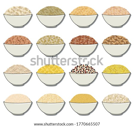 Bulgur cereal in plate isolated. Healthy food for breakfast. Vec Stock photo © MaryValery