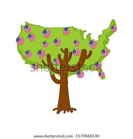 Patriotic apple tree USA map. apples America flag. National Stat Stock photo © popaukropa