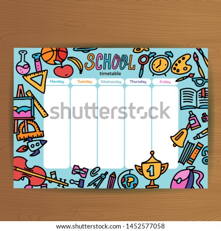 School timetable with space design. Lesson plans all week. Plane Stock photo © popaukropa