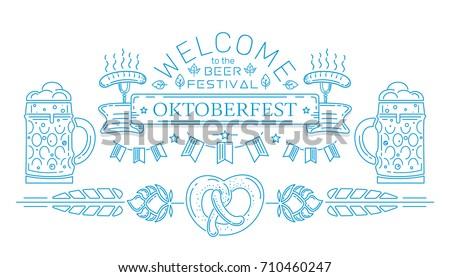 oktoberfest logo beer sausage and pretzel sign national holid stock photo © popaukropa