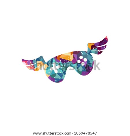 video game joystick console with angel bird wing mosaic theme Stock photo © vector1st