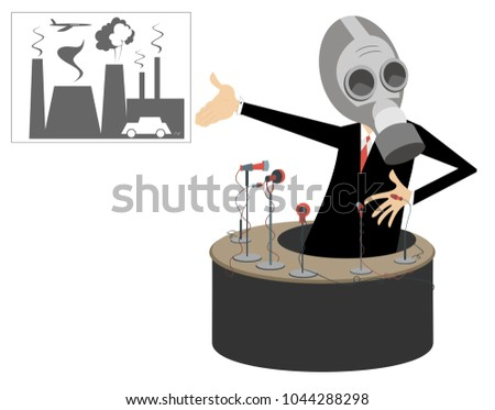 Reporter in the gas mask, mass media and banner showing the polluted smoke from factory and cars con Stock photo © tiKkraf69