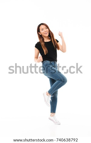 full length photo of skinny pretty asian woman in casual wear sh stock photo © deandrobot