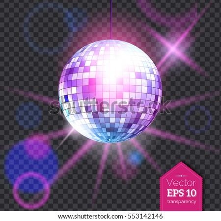 Wektora błyszczący disco ball ilustracja przezroczysty muzyki Zdjęcia stock © articular