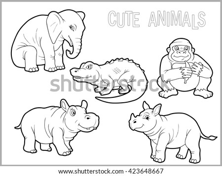 big gorilla coloring book vector illustration of african animal stock photo © popaukropa