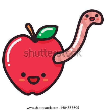 Gelukkig worm rot rode appel vruchten cartoon mascotte Stockfoto © hittoon