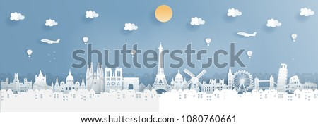 travel to paris france traveling background poster design element for cards banners flyers pa stock photo © ikopylov