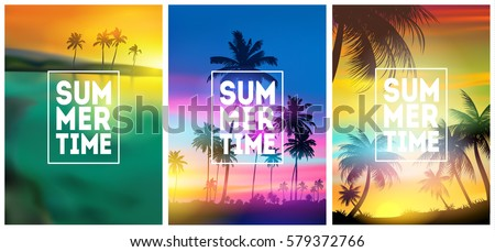 summer tropical backgrounds set with palms sky and sunset summer placard poster flyer invitation c stock photo © marysan