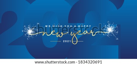 Blue lettering Happy New Year for greeting card on white background. Vector illustration. Stock photo © FoxysGraphic