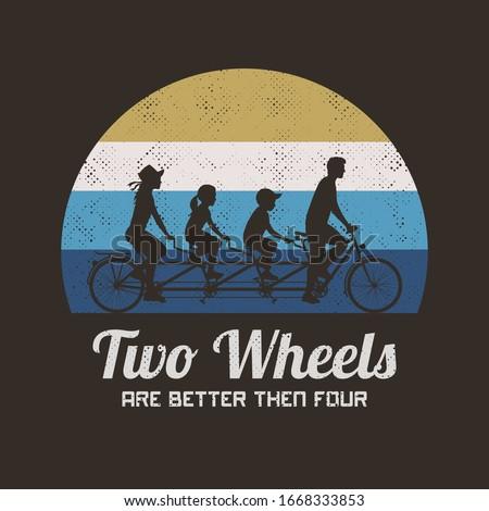 Retro couple of cyclists on bicycle.Vector illustration. - Illus Stock photo © NikoDzhi