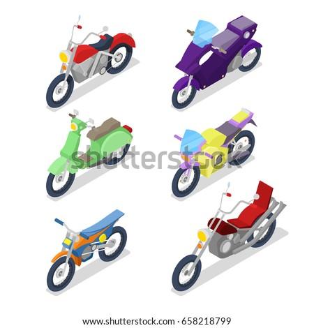 Engine racing Isometric. Motor motorcycle isolated. Vector illus Stock photo © popaukropa