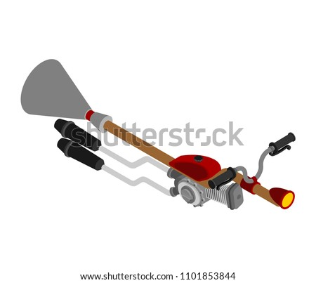 Witch on racing broom Isometric. Broomstick Speeding turbo. Hall Stock photo © popaukropa