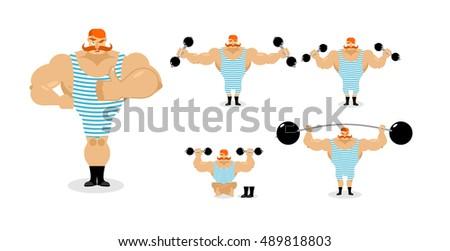 retro strongman and weight vintage sportsman circus bodybuilde stock photo © popaukropa