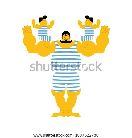 sports strong family dynasty retro strongman and children vint stock photo © popaukropa