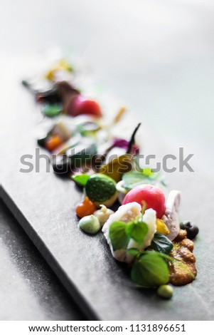 modern gourmet creative cuisine salad with goat cheese and figs Stock photo © travelphotography